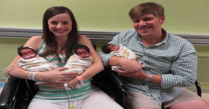 White couple mysteriously gives birth to black triplets.