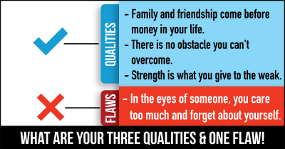 What are Your Three Qualities & One Flaw!